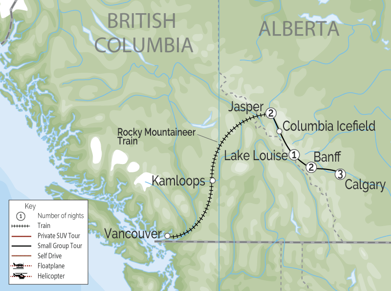 Calgary Stampede Train through the Canadian Rockies 2021 map