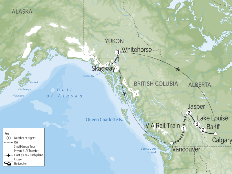 Canadian Rockies & the White Pass Yukon Railroads map