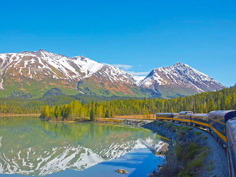 Canadian Rockies Train Combo Circle Tour with Alaska Denali Cruise Tour | Alaska Railroad with Denali