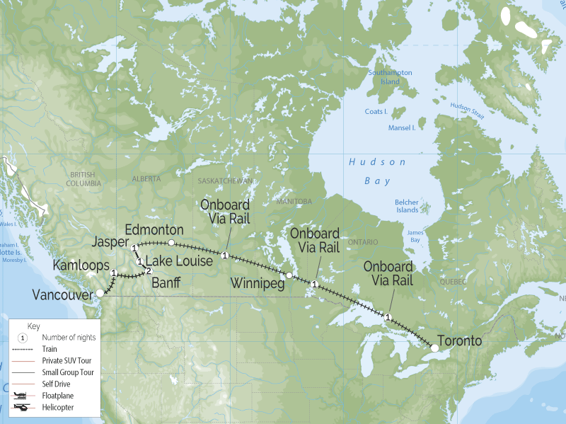 Canadian Trails Rail Across Canada Toronto to Vancouver map