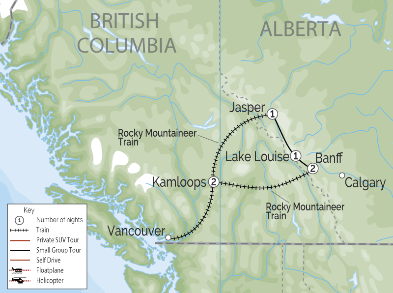 Grand Canadian Rockies Train Circle Tour Rocky Mountaineer map