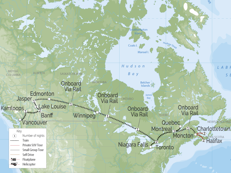 Grand Canadian Rail Tour | Vancouver to Halifax map
