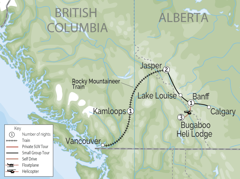 Journey Through the Clouds Rail & Heli Adventure | Rocky Mountaineer map