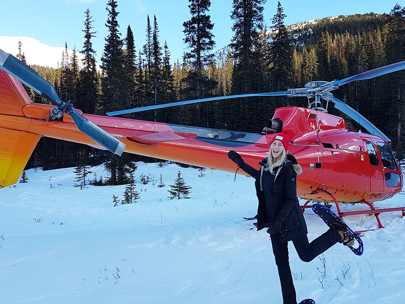 Luxury Snow Train to the Canadian Rockies | Our Team on the Snowshoe Heli Tour