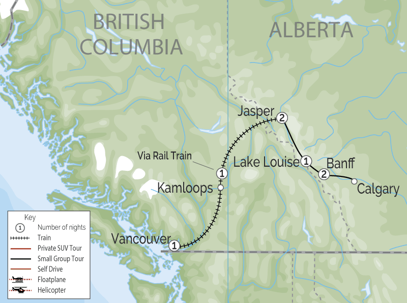 Luxury Snow Train to the Canadian Rockies map