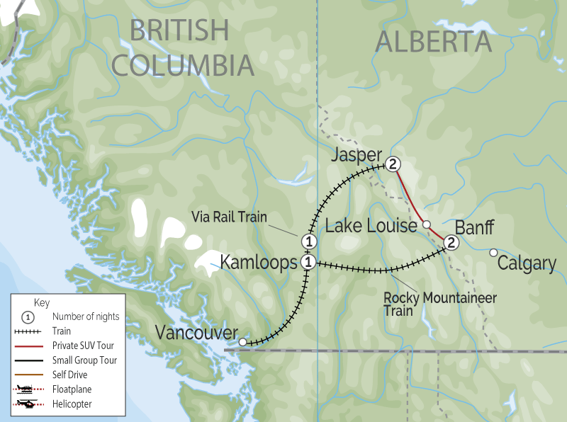 Luxury Train Journey of the Canadian Rockies | Rocky Mountaineer | VIA Rail map