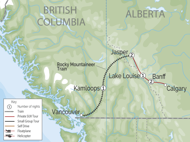 Signature Canadian Rockies by Rail | Private Touring | Rocky Mountaineer map