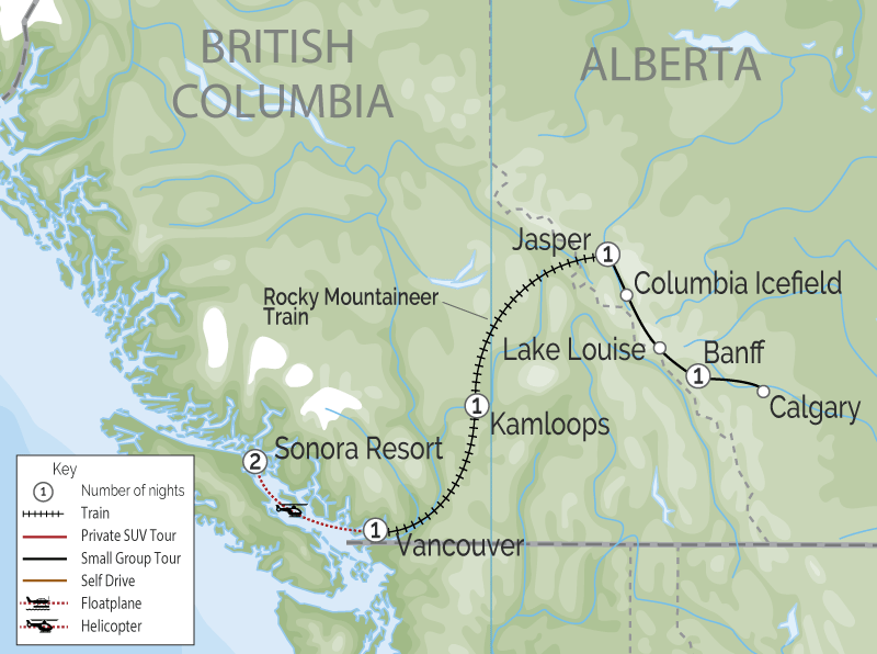 Sonora Resort Canadian Rockies Train Trip Combo map