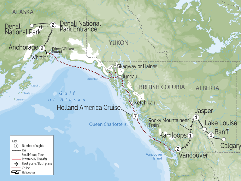 Spectacular West Train to the Canadian Rockies & Alaska Cruise Denali Train Tour map