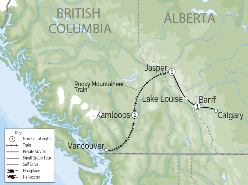 Spectacular West Train to the Canadian Rockies | Rocky Mountaineer map