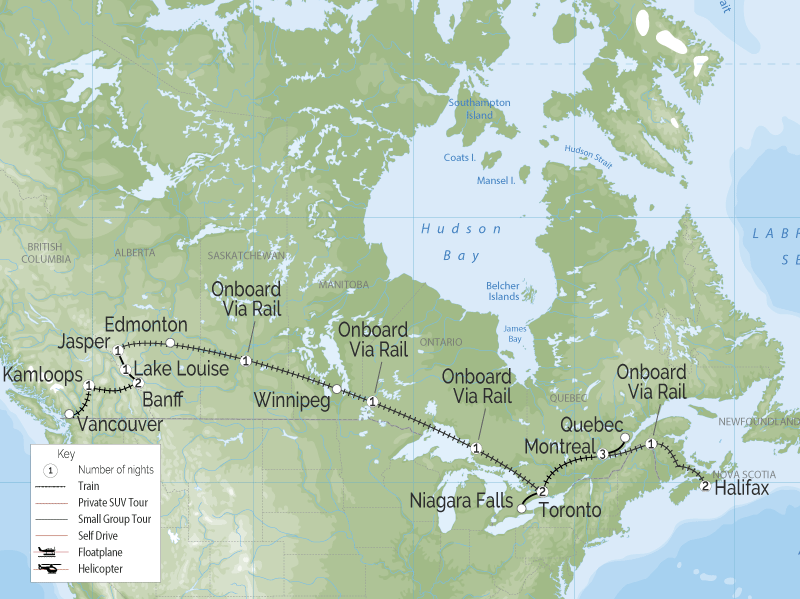 Trans Canada Rail Adventure | Vancouver to Halifax map